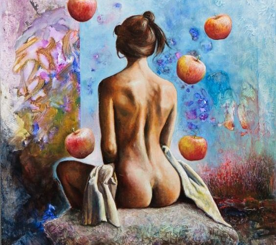 Model with Apples