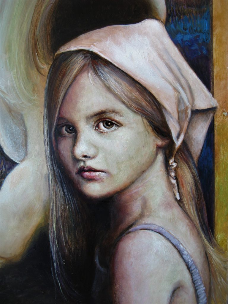 """Young girl (part of the painting """"Where do we go ? """")"""